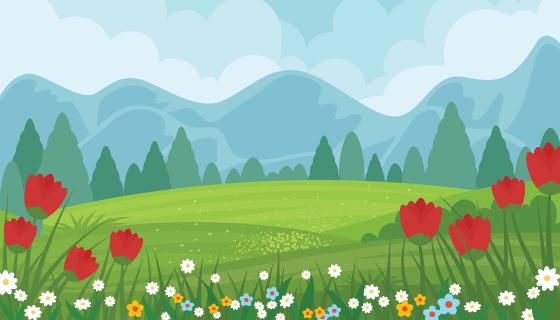 美丽的春天景色矢量素材(AI/EPS)