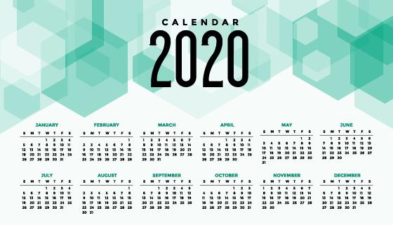 抽象几何设计2020年日历矢量素材(EPS)