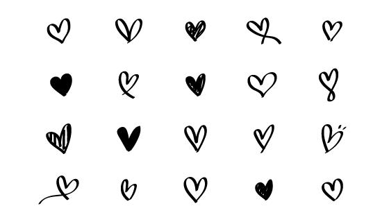 涂鸦心形集合矢量素材(EPS/PNG)