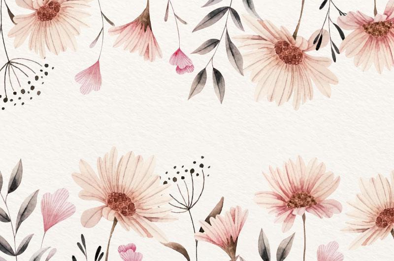 水彩风格花卉背景矢量素材(AI/EPS)