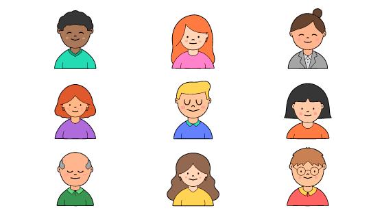 手绘人物头像矢量素材(AI/EPS/PNG)