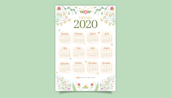 多彩花卉2020年日历矢量素材(AI/EPS)