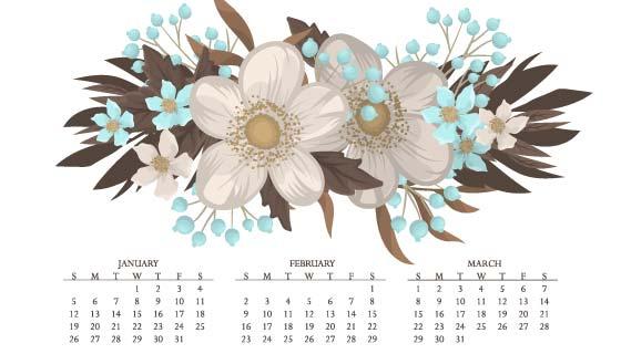 花卉设计2020年日历矢量素材(EPS)