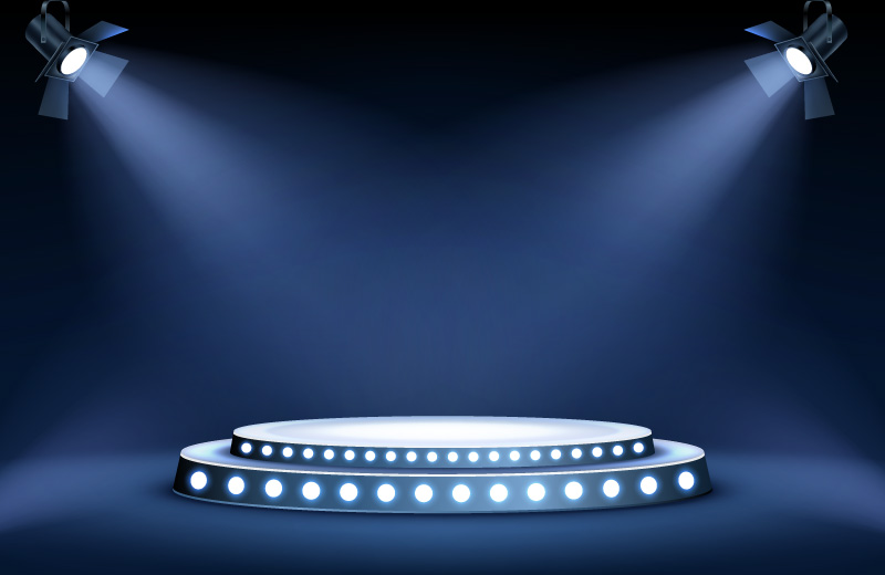 聚光灯照亮的圆形舞台矢量素材(EPS)