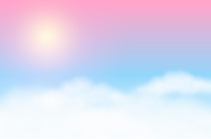 梦幻模糊的天空太阳白云背景矢量素材(EPS)