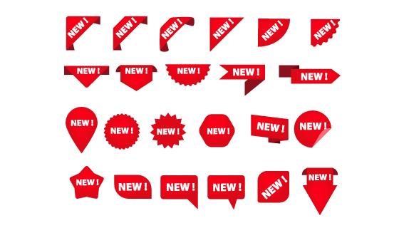 各种各样的new标签角标矢量素材(EPS/PNG)