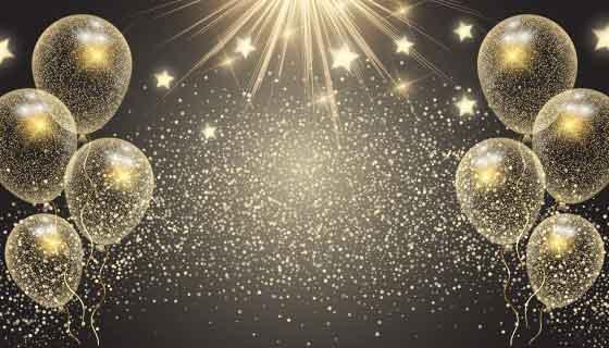 金色气球和星星庆祝背景矢量素材(EPS)
