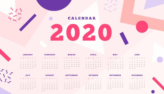 抽象几何设计2020年日历矢量素材(AI/EPS)