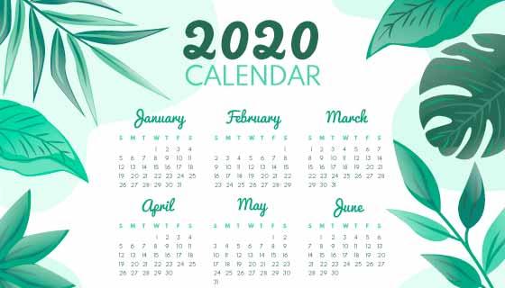 绿色叶子设计2020年日历矢量素材(AI/EPS)