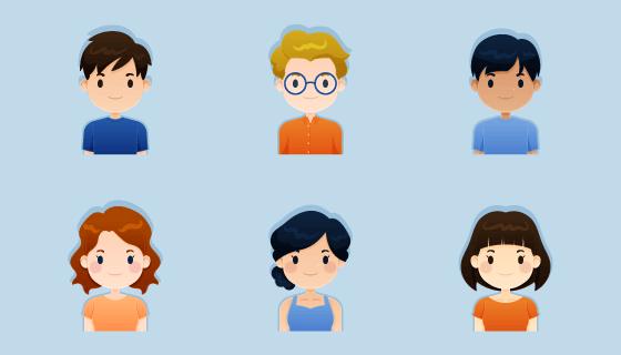 卡通风格人物头像矢量素材(AI/EPS/PNG)