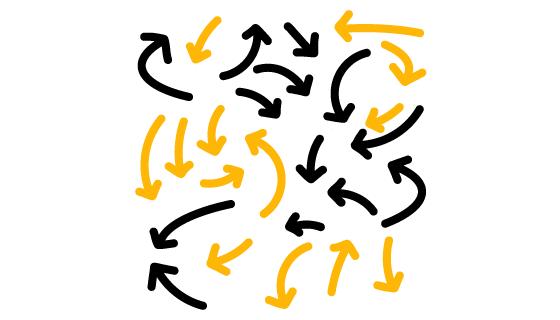 手绘黄色黑色箭头矢量素材(EPS/PNG)