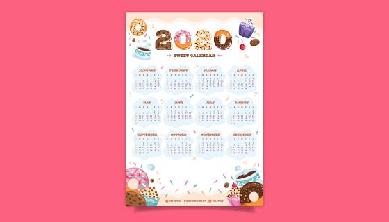 甜点设计2020年日历矢量素材(AI/EPS)