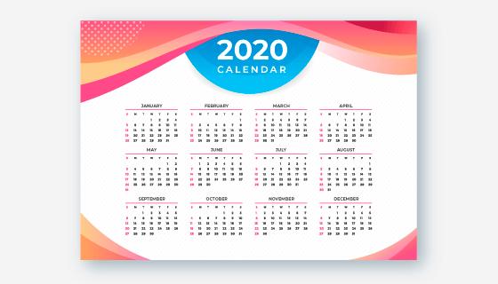 抽象多彩设计2020年日历矢量素材(ai/eps)图片