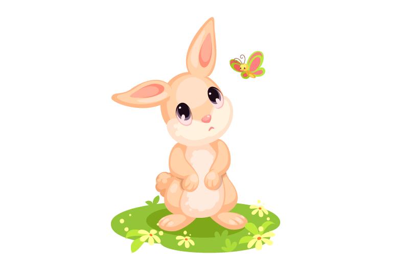 卡通风格可爱兔子矢量素材(EPS/免扣PNG)