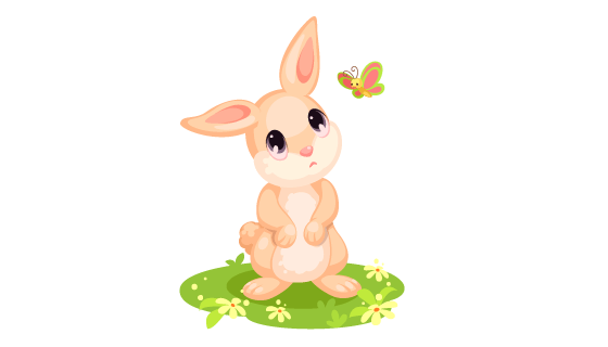 卡通风格可爱兔子矢量素材(EPS/PNG)