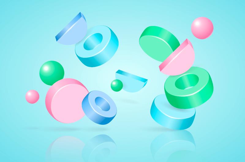3D几何物体背景矢量素材(AI/EPS)