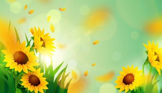 逼真的向日葵春天背景矢量素材(AI/EPS)