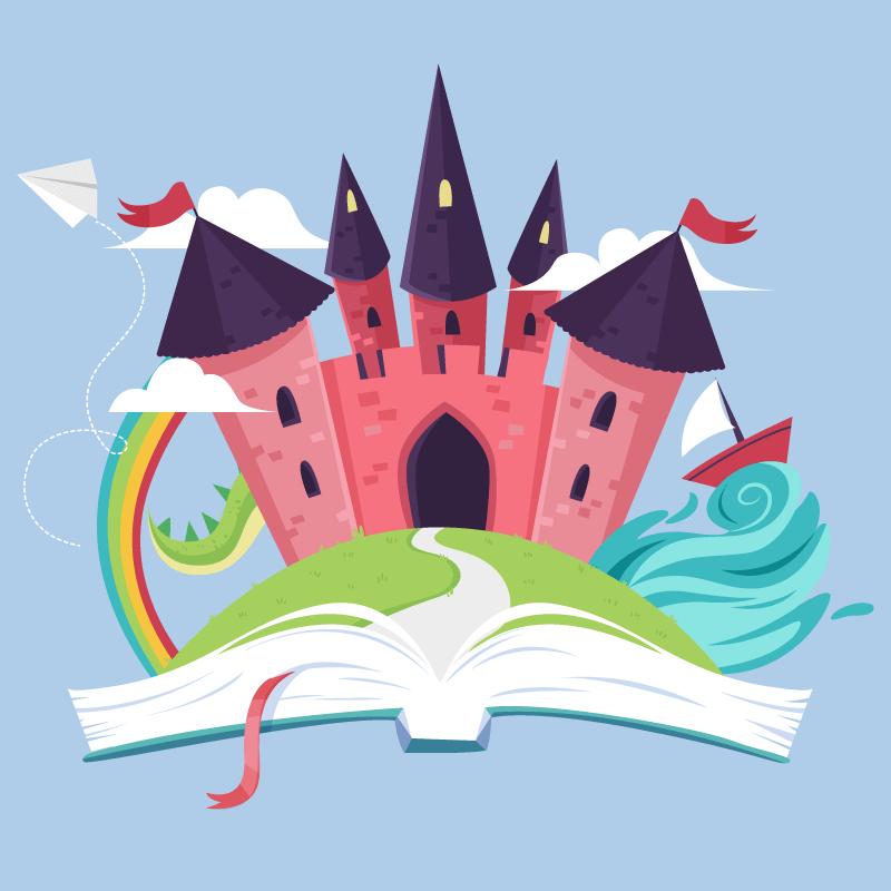 书中的童话城堡矢量素材(AI/免扣PNG)