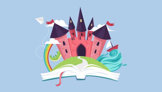 书中的童话城堡矢量素材(AI/PNG)