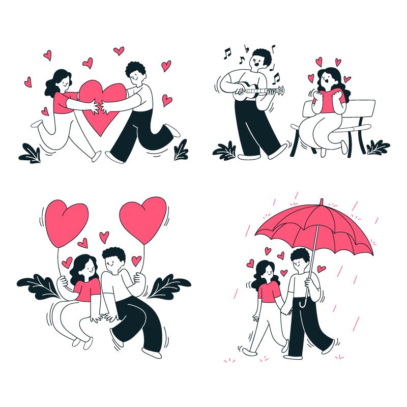 手绘风格浪漫情侣矢量素材(AI/EPS/免扣PNG)