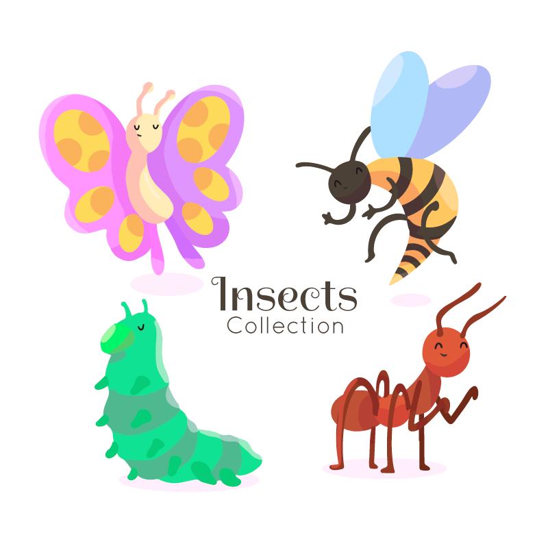 四种手绘风格昆虫矢量素材(AI/EPS/免扣PNG)