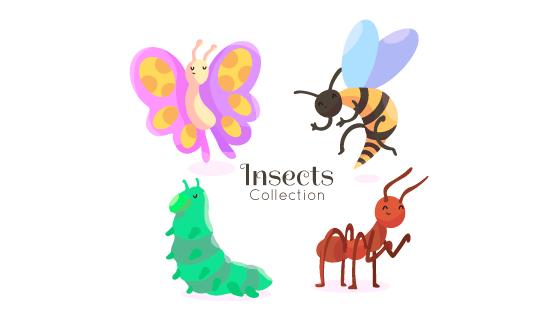 四种手绘风格昆虫矢量素材(AI/EPS/PNG)