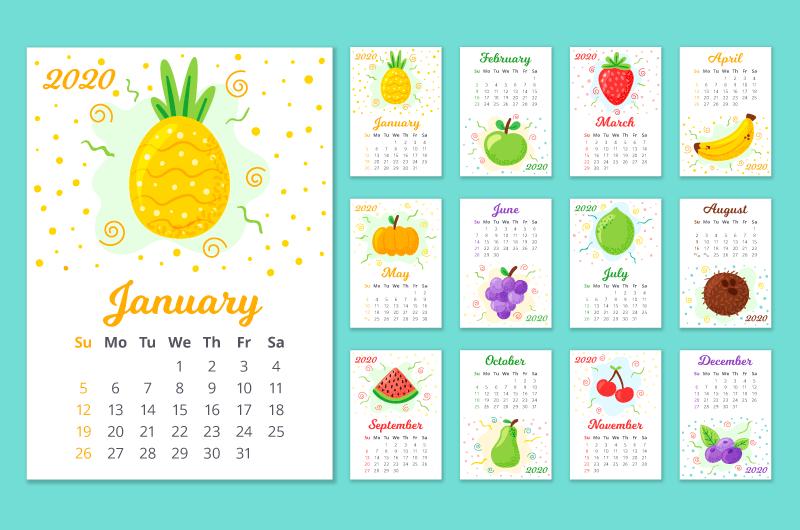 手绘水果设计2020年日历矢量素材(AI/EPS)