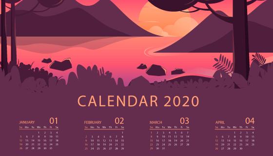 美丽的风景2020年日历矢量素材(AI/EPS)