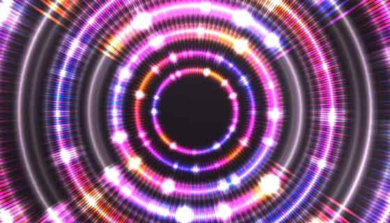 闪耀的霓虹灯光圈背景矢量素材(AI/EPS)