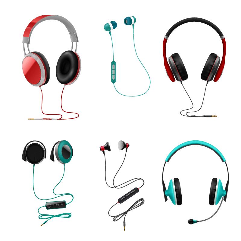 逼真的耳机矢量素材(EPS/免扣PNG)