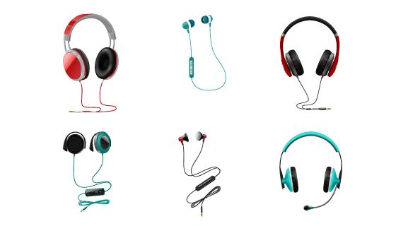 逼真的耳机矢量素材(EPS/PNG)