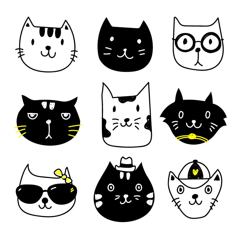 手绘可爱猫咪头像矢量素材(EPS/免扣PNG)