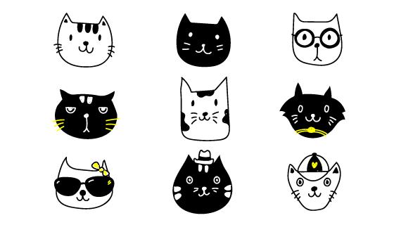 手绘可爱猫咪头像矢量素材(EPS/PNG)