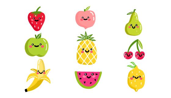 手绘风格可爱水果矢量素材(AI/EPS/PNG)