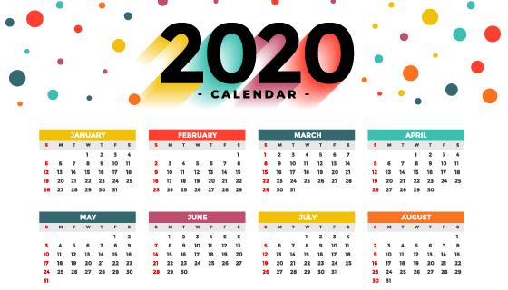 多彩圆点2020年日历矢量素材(EPS)