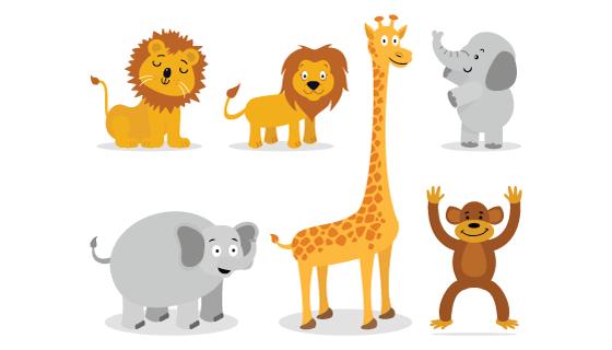 手绘风格可爱动物矢量素材(AI/SVG)