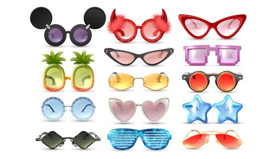 各种各样的眼镜矢量素材(EPS)