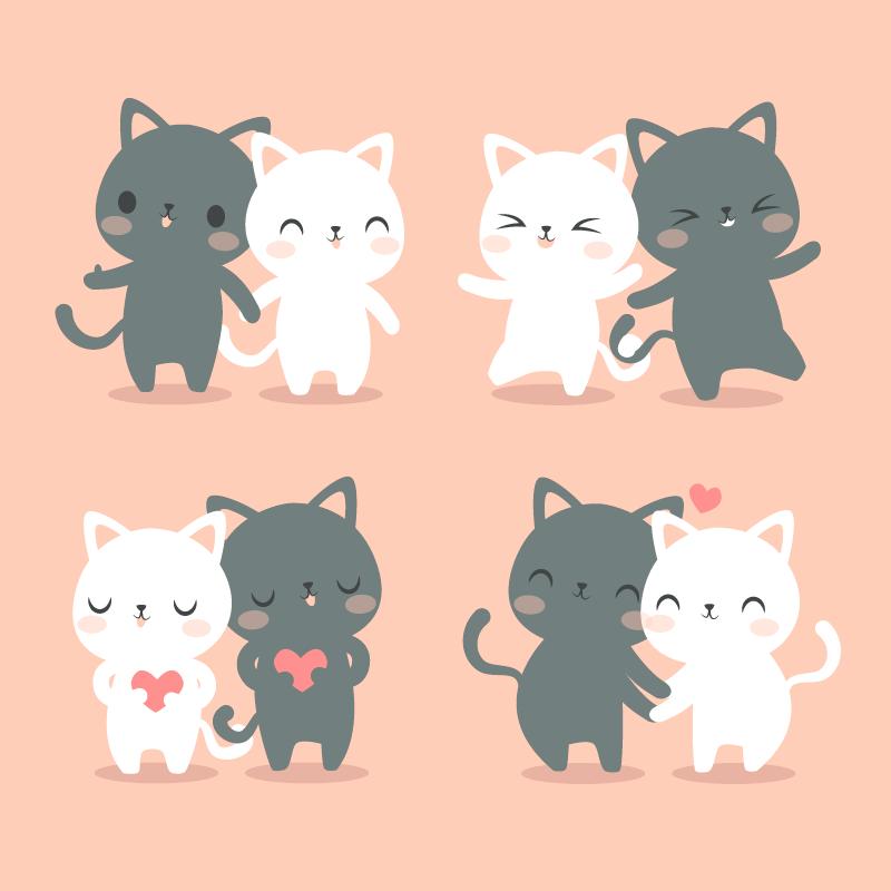 可爱的情侣猫咪矢量素材(AI/EPS/免扣PNG)
