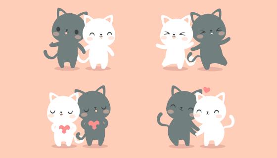 可爱的情侣猫咪矢量素材(AI/EPS/PNG)