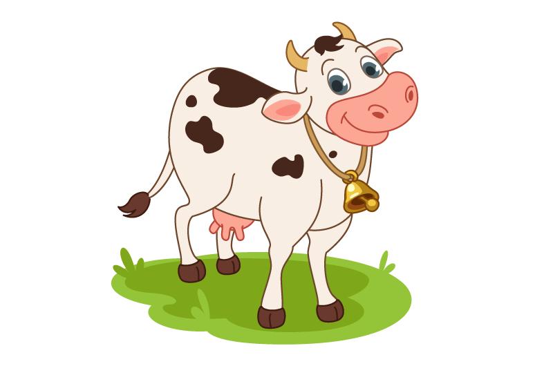 卡通风格微笑的奶牛矢量素材(EPS/免扣PNG)