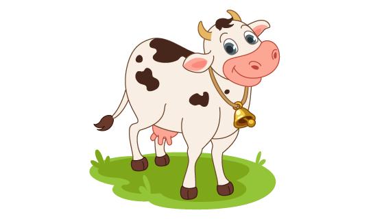 卡通风格微笑的奶牛矢量素材(EPS/PNG)