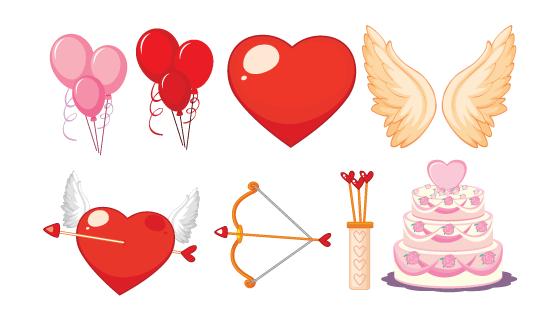 情人节爱情元素矢量素材(EPS/PNG)