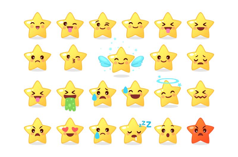 可爱星星表情矢量素材(EPS/免扣PNG)