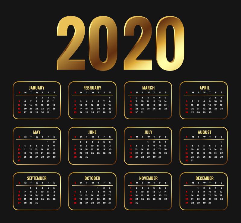 金色设计2020年日历矢量素材(EPS)