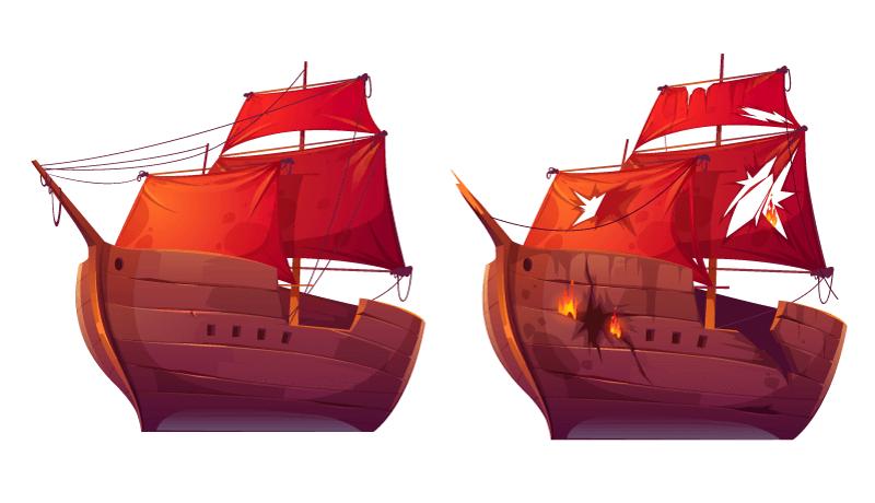 红的的木质帆船矢量素材(EPS/免扣PNG)