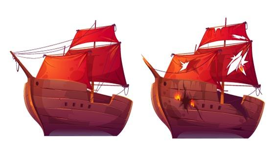 红的的木质帆船矢量素材(EPS/PNG)