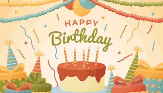 蛋糕礼物生日快乐背景矢量素材(AI/EPS)