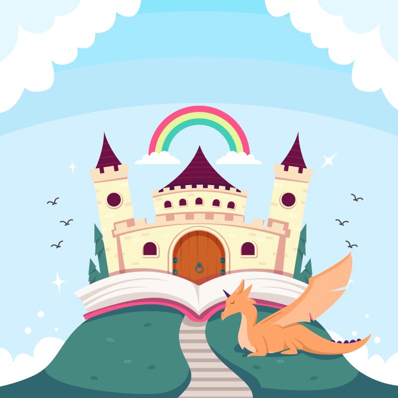 扁平风格童话城堡矢量素材(AI/EPS)