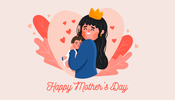 母亲抱着宝宝母亲节快乐矢量素材(AI/EPS/PNG)