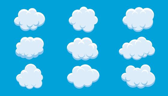 扁平风格蓬松的云朵矢量素材(EPS/PNG)